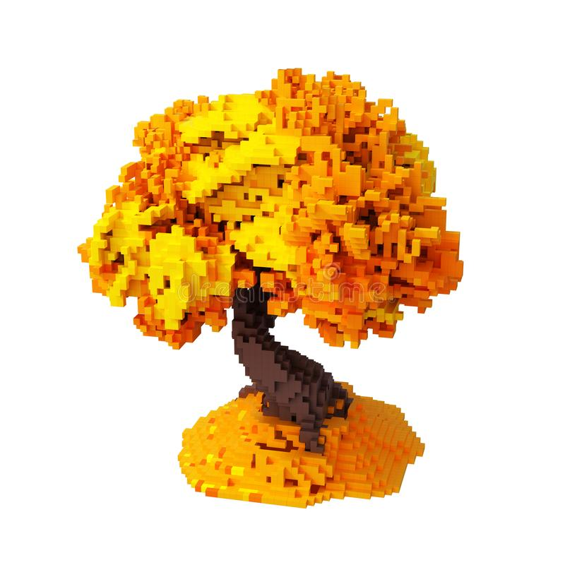 Autumn Digital Pixelated Tree Isolated p stock illustrationer