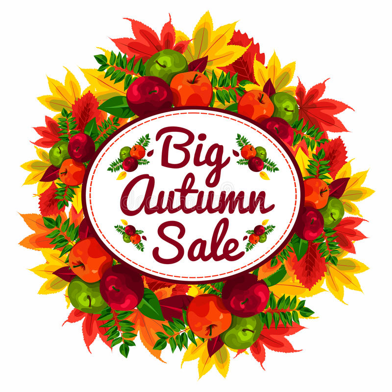 Autumn Discount Banner With Beautiful Fall Leaves And Apples. Autumn ...