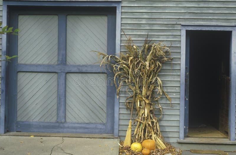 Autumn Display Leaning su costruzione, Waterloo, New Jersey fotografia stock