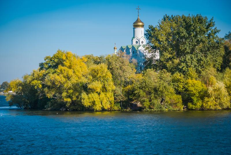 The autumn Dnepr, Ukraine. Church of St. Nicholas on the island, the autumn Dnepr, Ukraine stock photo