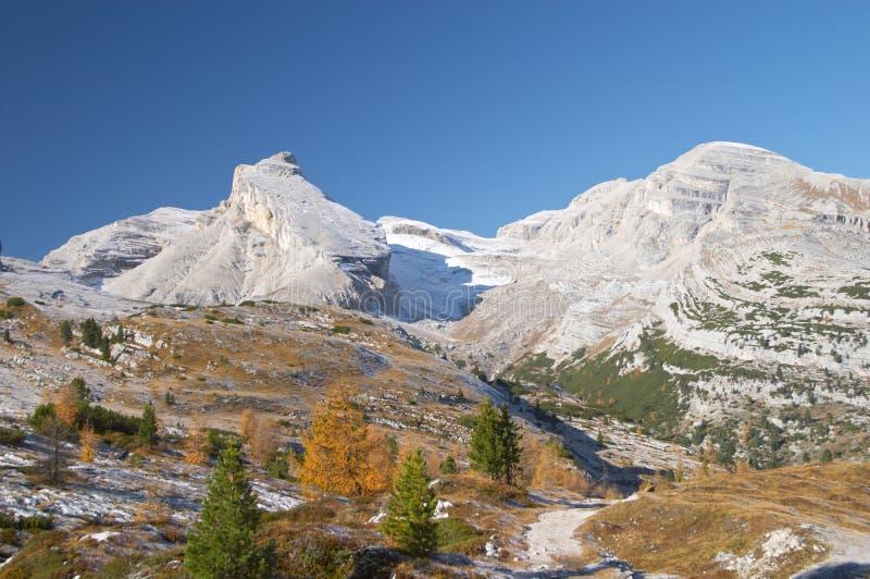 Autumn in Dolomites mountains stock photography