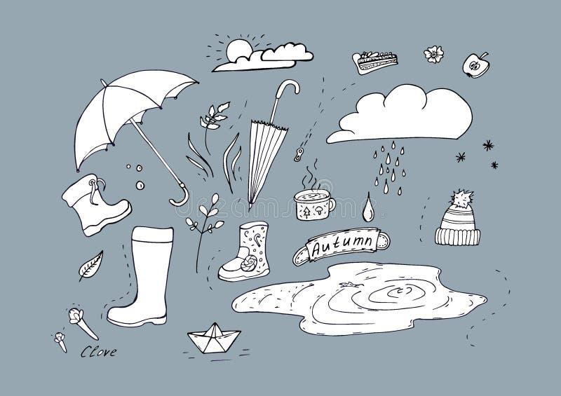 Autumn Doodle Illustration av höstbeståndsdelar H?sten g?r i regnet stock illustrationer
