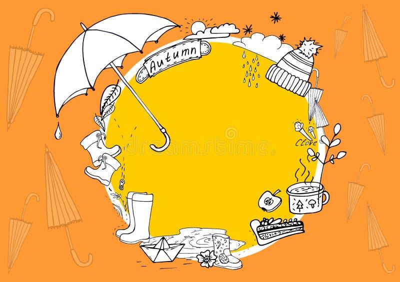 Autumn Doodle Illustration de elementos do outono Caminhada do outono na chuva ilustração do vetor