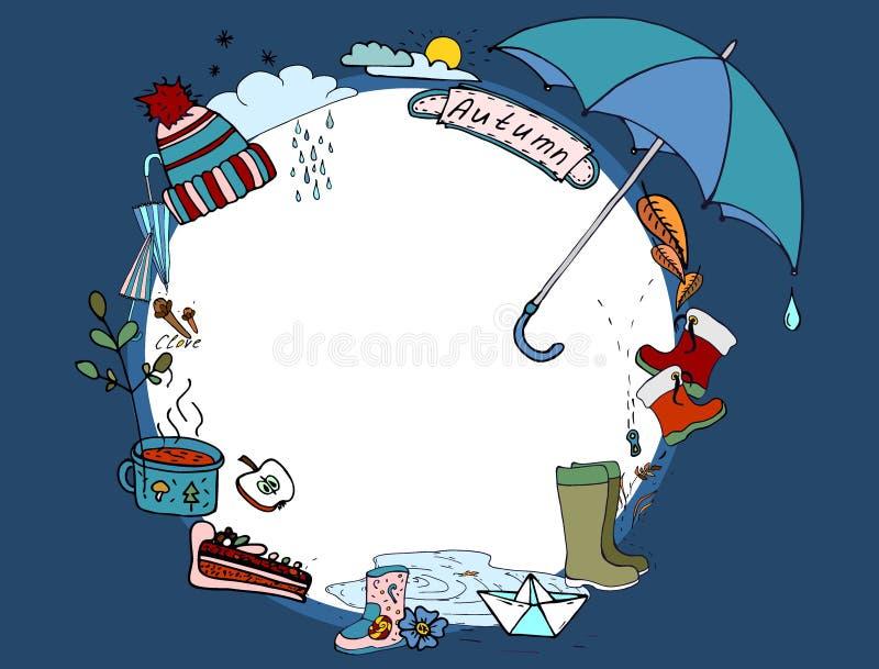 Autumn Doodle Illustration van de herfstelementen De herfstgang in de regen vector illustratie