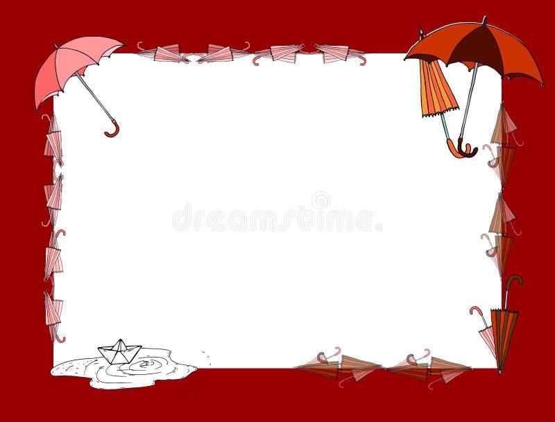 Autumn Doodle Illustration van de herfstelementen De herfstgang in de regen stock illustratie
