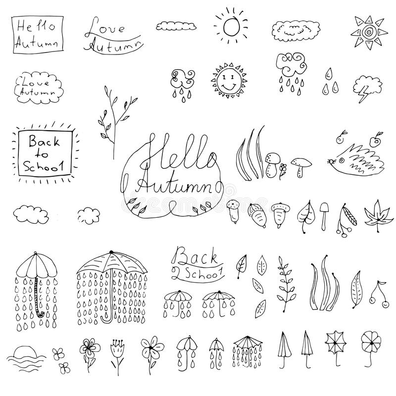 Autumn doodle weather collection vector illustration