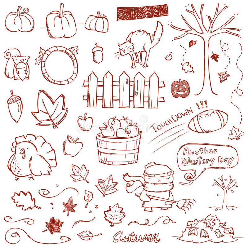 Autumn Doodles. Autumn elements drawn in a doodled style