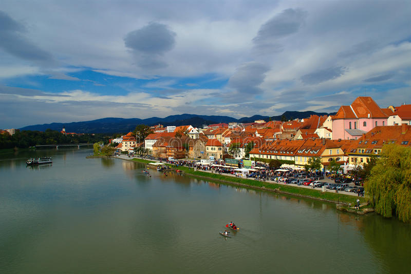 Autumn On Drava River, Maribor, Slovenia stock photo