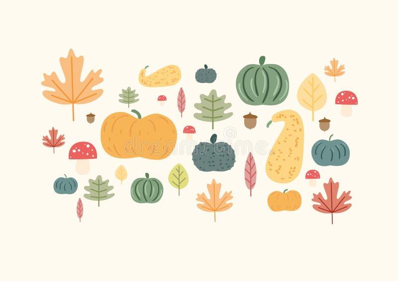 Autumn Drawings Doodle con las hojas y Pumkins imagen de archivo libre de regalías