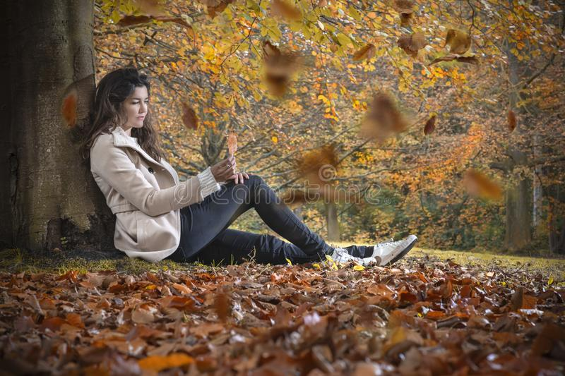 Autumn dreamy girl royalty free stock image