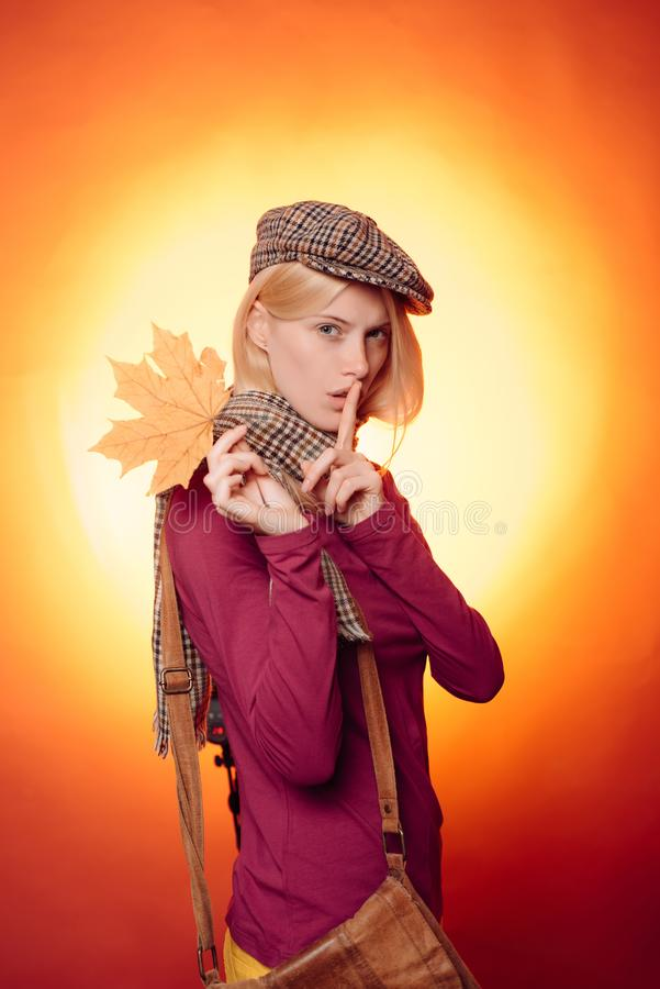Autumn Dress. Autumn happy people and joyHello november. Advertising agency. Autumnal foliage. Hello September. Rain and royalty free stock image