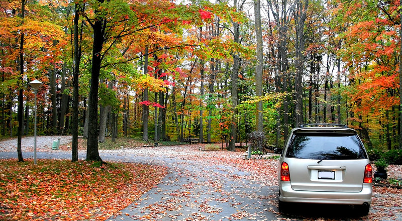 Autumn Drive. Scenic drive through colorful trees in Michigan stock images