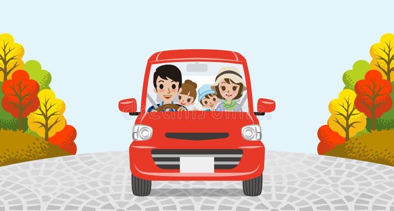 Autumn Driving Family illustrazione vettoriale