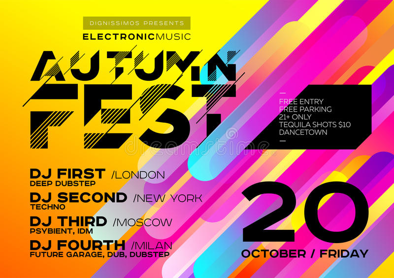 Autumn Electronic Music Poster intelligent pour le festival ou le DJ font la fête illustration stock