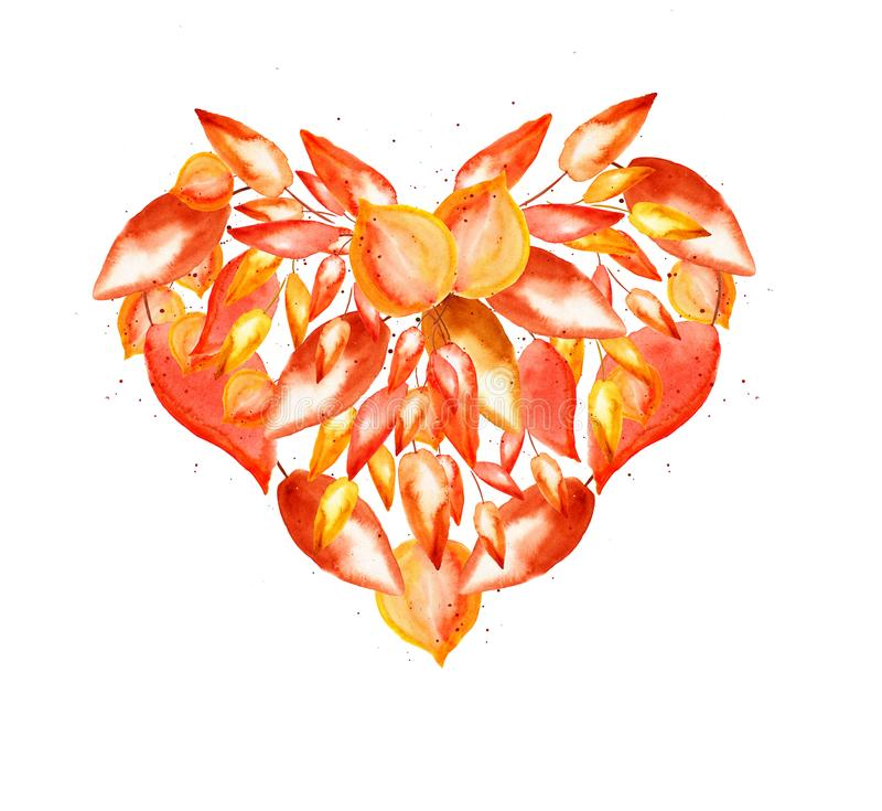 Autumn element for design, heart shape: orange, yellow and red watercolor leaves and small drops on white background. For frame, card, paper and other royalty free illustration