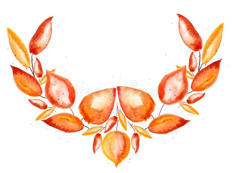 Autumn element for design: orange, yellow and red watercolor leaves and small drops on white background. For frame, card, paper and other decoration stock illustration