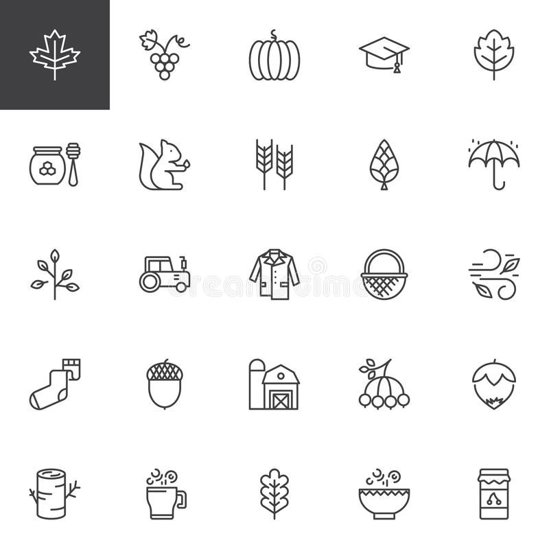 Autumn Elements outline icons set stock illustration