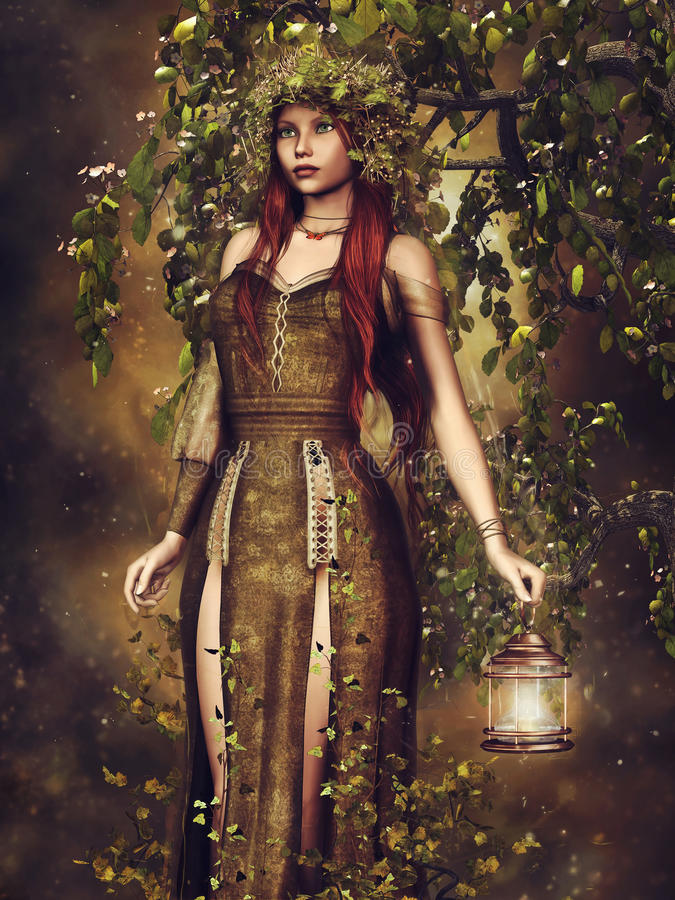 Autumn elf. Fantasy elf girl with a lantern in the forest stock illustration