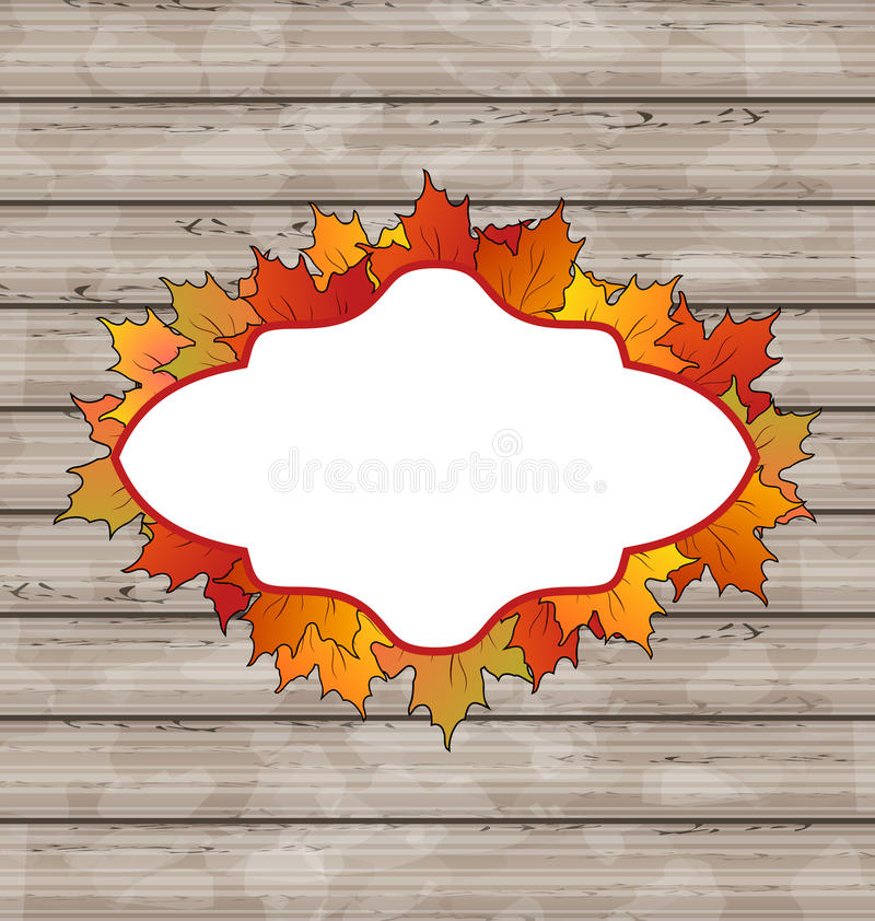 Autumn Emblem With Leaves Maple, Wooden Texture Stock Image