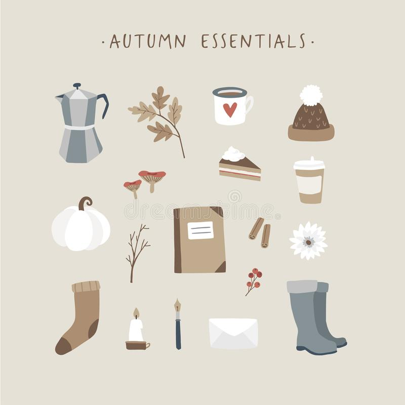 Autumn essentials. Set of cute hand drawn fall food, drink, fashion and lifestyle icons with coffeee, leaves, stationery royalty free illustration