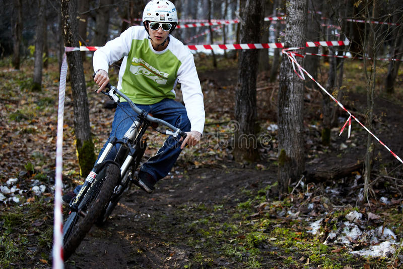 Autumn extreme mountain bile competition stock photography