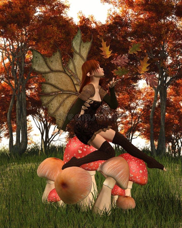 Autumn Fairy avec les ailes feuillues sur Autumn Woodland Toadstool illustration stock
