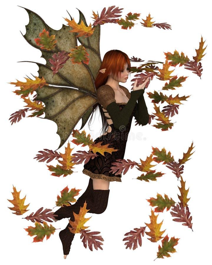 Autumn Fairy avec les feuilles de tourbillonnement illustration stock
