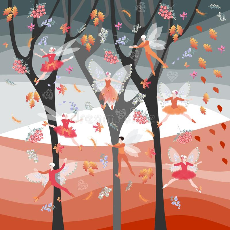 Autumn fairy ballet. Elven dance. Beautiful card with winged dancers, flowers and leaves on background of autumnal trees.  vector illustration