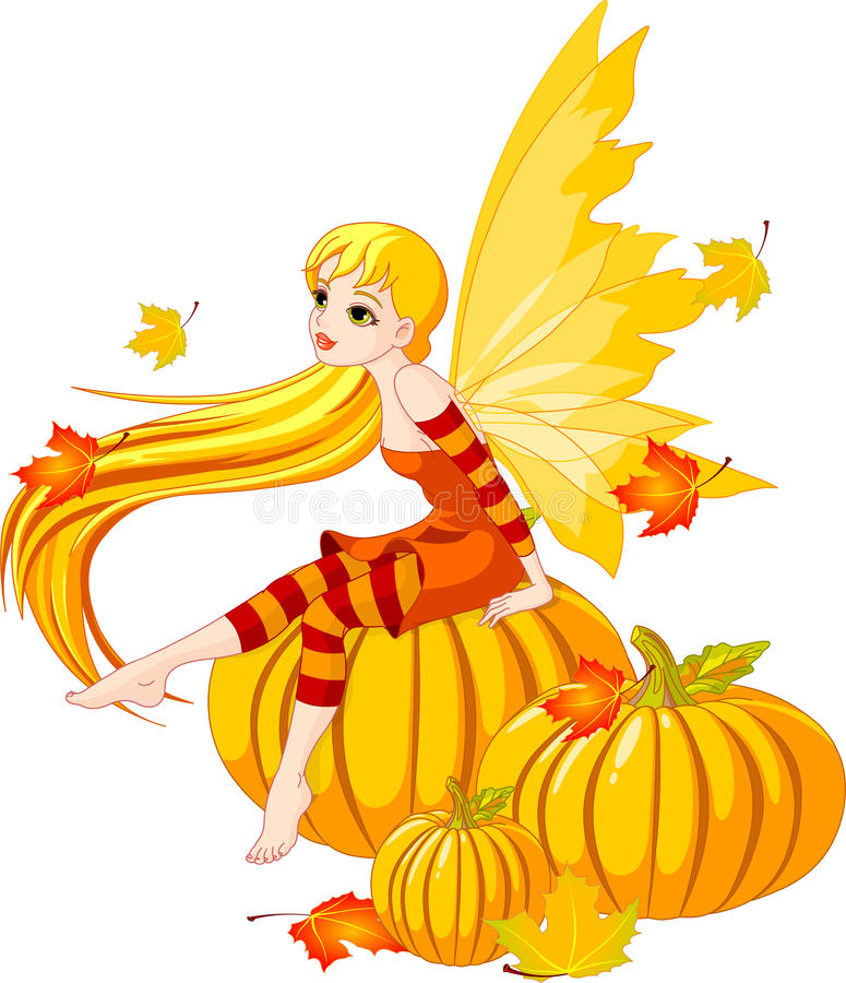 Download Autumn Fairy On The Pumpkin Stock Vector - Illustration of nature, maple: 15748900