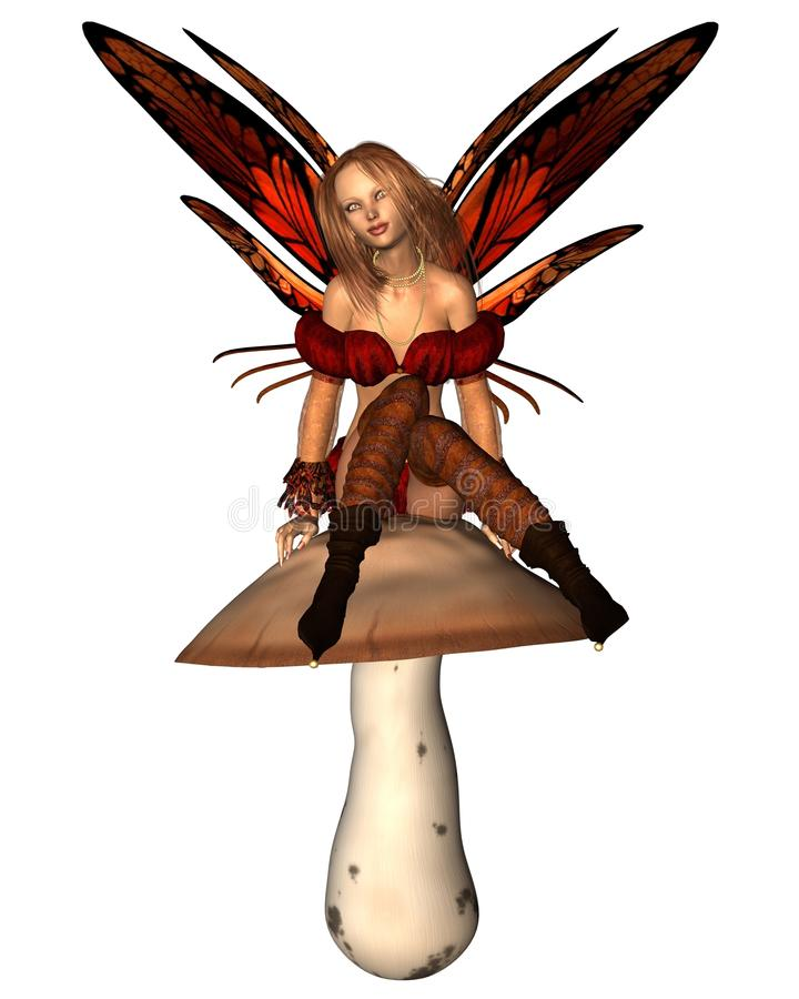 Autumn Fairy sitting on a toadstool stock image