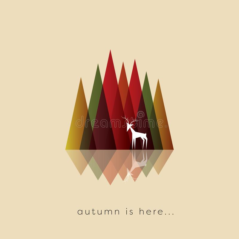 Autumn or fall abstract vector background with typical foliage colors. Abstract mountains with deer in front, wildlife. Nature symbol. Seasonal landscape symbol royalty free illustration
