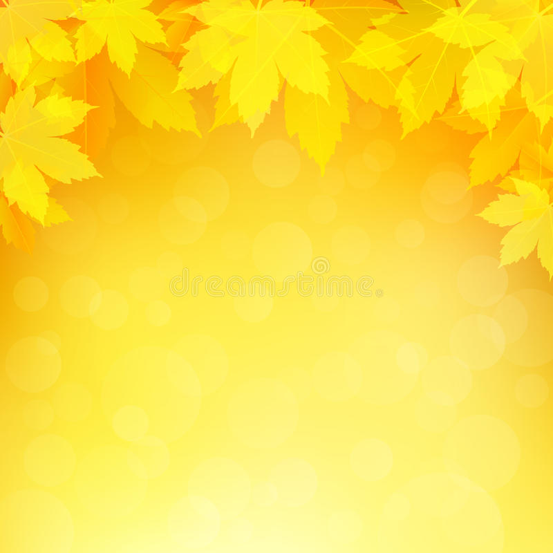 Autumn, fall background with bright golden maple leaves. Abstract illustration with bokeh lights. Blurred soft backdrop. Vector illustration. EPS10 royalty free illustration