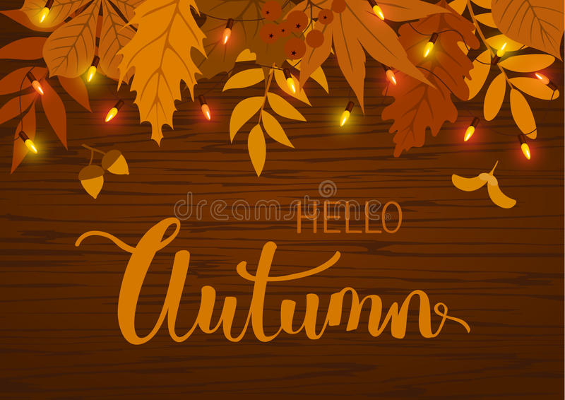 Autumn fall background with leaves and hanging festive lights bulbs garland. On wooden texture vector illustration