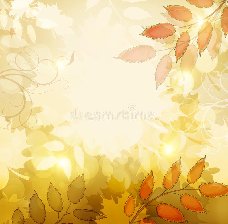 Autumn Fall Background. Autumn Fall Orange Background With Maple Leafs And Shine royalty free illustration