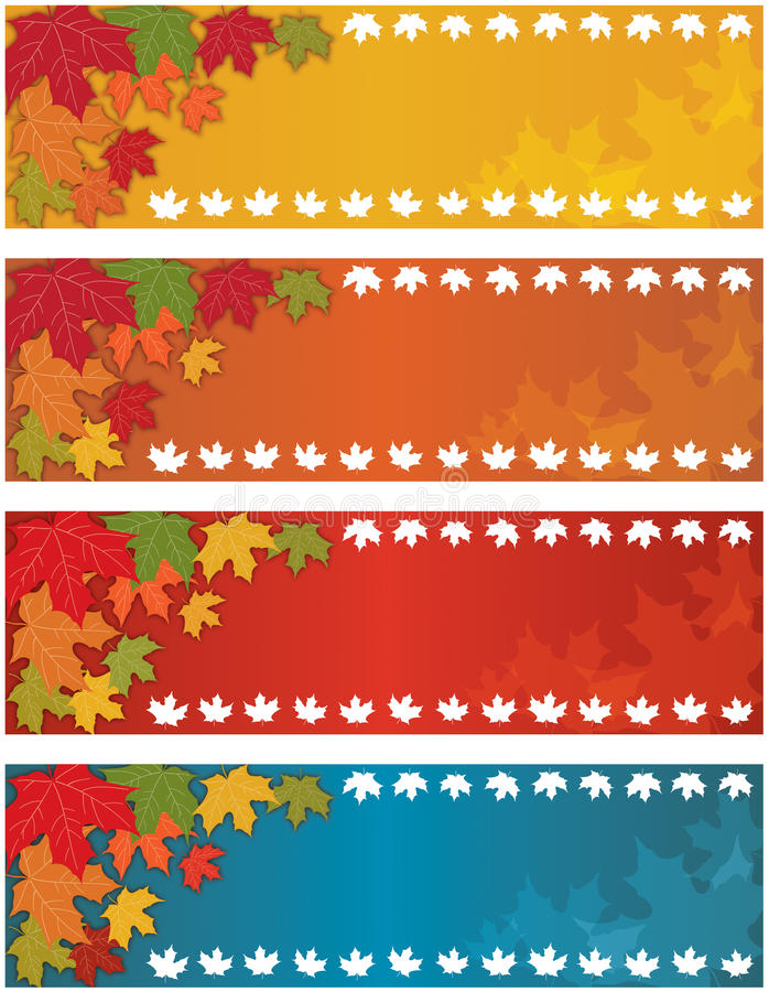 Autumn Fall Banner. Set with falling leaves stock illustration