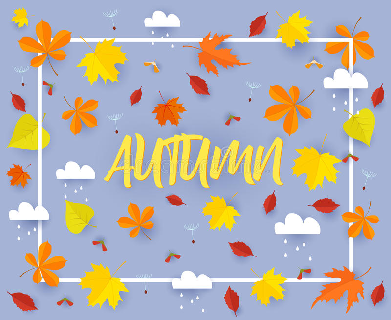 Autumn. Fall banner background template with beautiful colorful autumn leaves and rain clouds.Cut from paper vector. Autumn. Fall banner background template with vector illustration