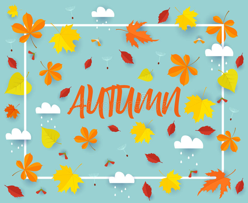 Autumn. Fall banner background template with beautiful colorful autumn leaves and rain clouds.Cut from paper vector. Autumn. Fall banner background template with stock illustration