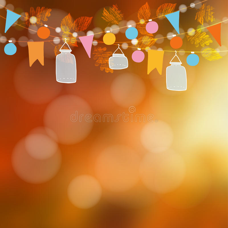 Autumn fall blurred card, banner. Garden party decoration. Vector illustration background with garland of oak, maple leaves. Lights, glass jar lanterns, party vector illustration