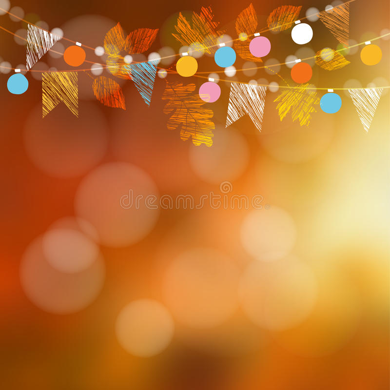 Autumn fall card, banner. Garden party decoration. Garland of oak, maple leaves, lights, party flags.Vector blurred illustration vector illustration