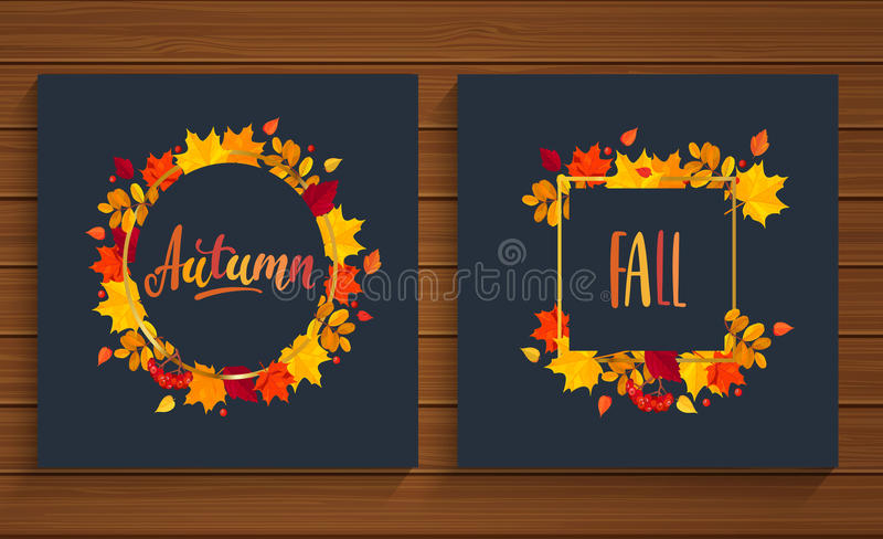 Autumn and Fall cards in frame from autumn leaves. Vector illustration vector illustration