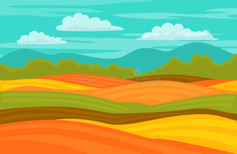Autumn fall colorful cute fields landscape background. Autumn fall colorful cute fields rural landscape background vector illustration