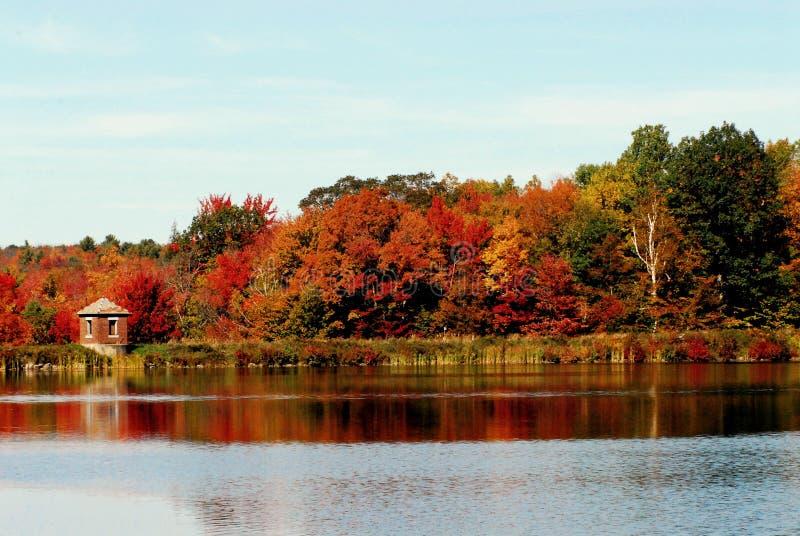 AUTUMN-FALL- colori di stato di caduta di New York riflessi in un lago fotografie stock