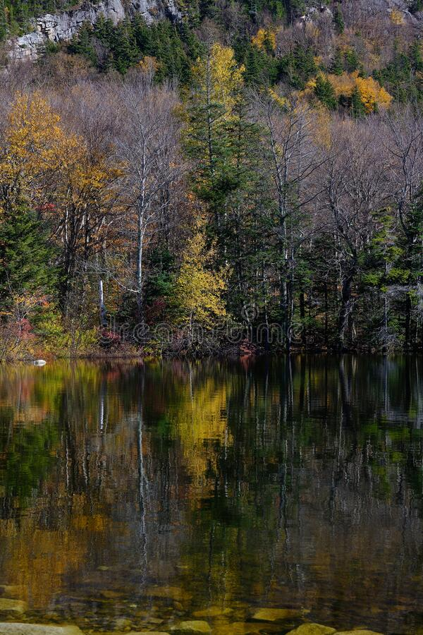 Autumn colors on he shore line of Echo lake in the White mountains of New Hampshire royalty free stock photo