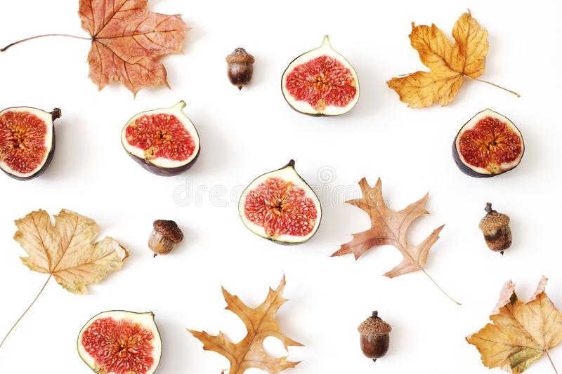 Autumn, fall creative composition of ripe purple figs. Fresh fruit, colorful maple and oak leaves and acorns isolated on stock images