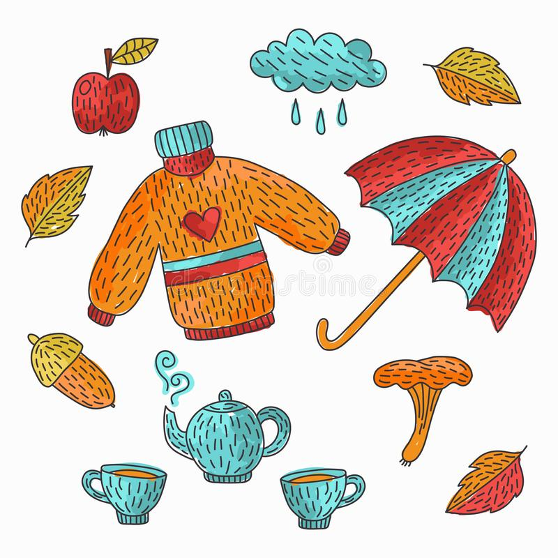 Autumn fall doodles vector icons stock illustration