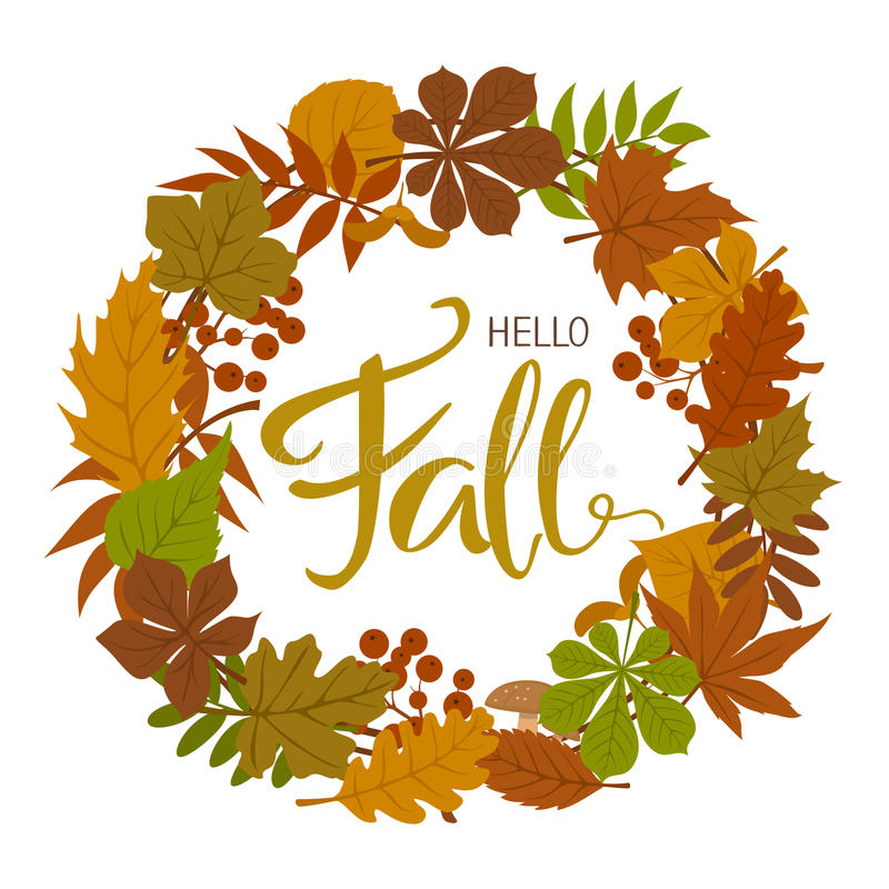 Autumn fall forest leaves wreath ,. Handwritten text royalty free illustration