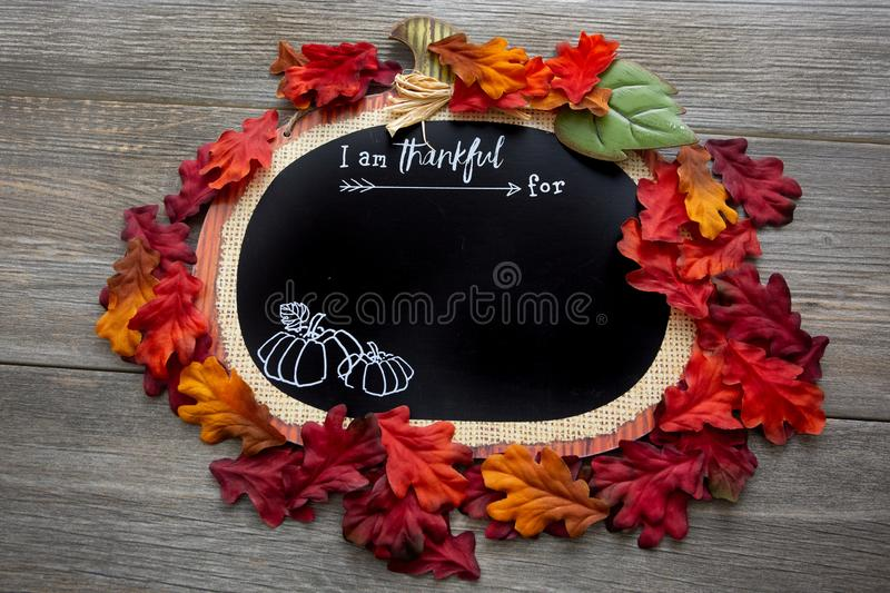 A autumn, fall inspired I am thankful for background surrounded by fall leaves on a wooden table. Perfect for a Thanksgiving messa stock photography