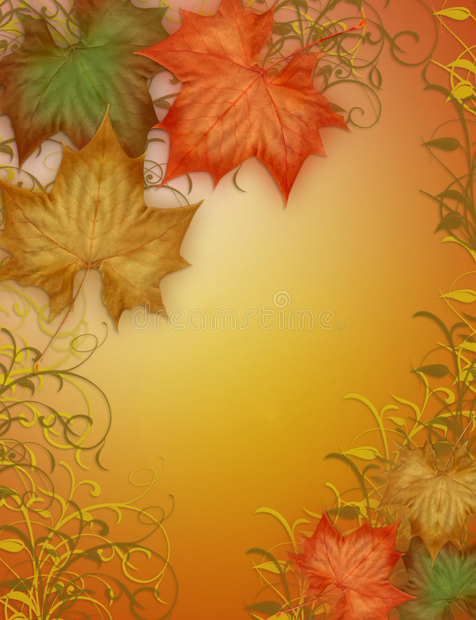 Autumn Fall leaves Border. Image and Illustration composition of colorful fall leaves for Autumn, Thanksgiving, Halloween, card, stationery, invitation, border vector illustration