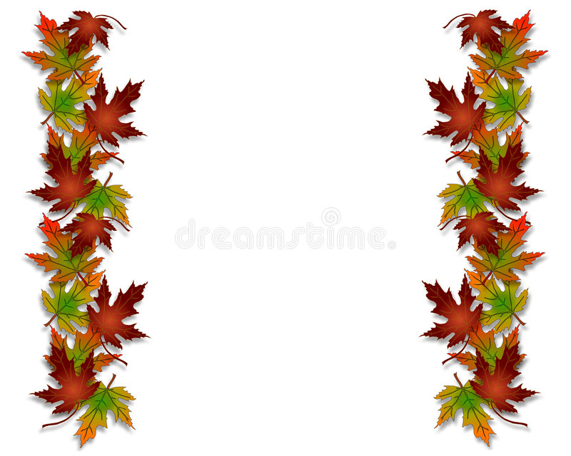 Autumn Fall Leaves Border. Illustration composition of colorful fall leaves for invitation, border or background with copy space royalty free illustration