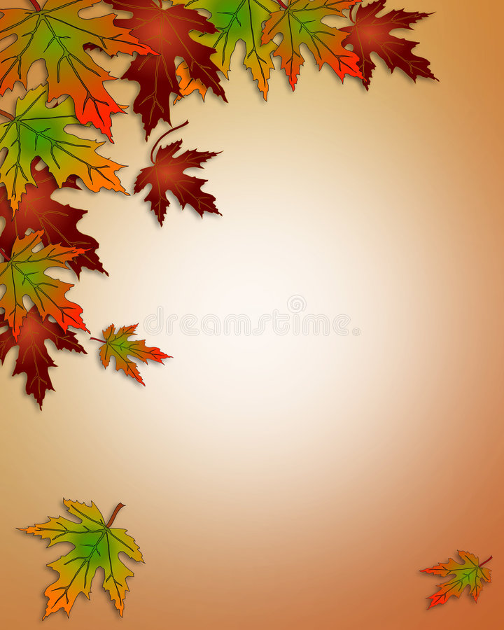 Autumn Fall Leaves Border. Illustration composition of colorful fall leaves for invitation, border or background with copy space stock illustration